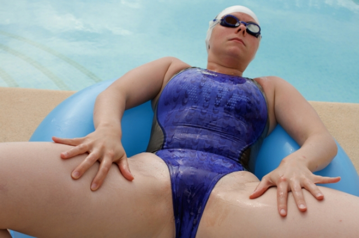 Blue Fastskin at the pool