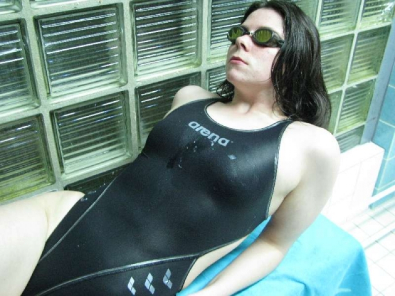 Cums**** on Black Arena X-Flat Swimsuit