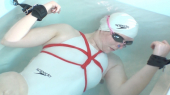 Underwater Bondage and Drowning in white high-cut Speedo swimsuit