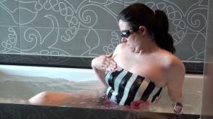 User **** in luxery bandeau swimsuit