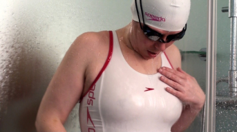 White Pink Swimsuitbitch ****ed in the shower