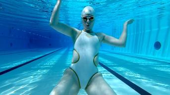 White Swimming Swimsuit Bitch