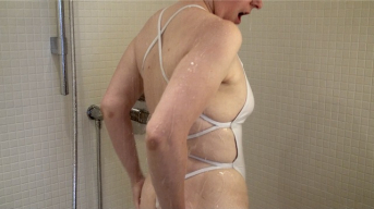 White shiny string swimsuit double ****